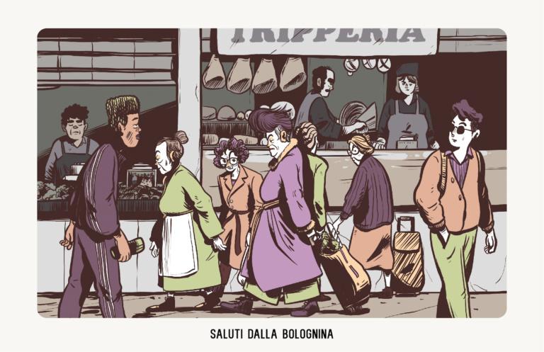 """Mi piacciono le """"Sdaure"""" che frequentano il Mercato Albani di giorno. E le loro battute sarcastiche in dialetto. I lov bolognina Illustrazione: Mattia Moro"""