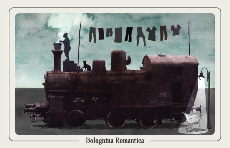 """La Locomotiva Nera del Locomotiv, che una sera, tentammo di entrarci scalandola ma un signore che ci dormiva dentro urlò: """"CHI È?!"""" Illustrazione: Davide Saba"""