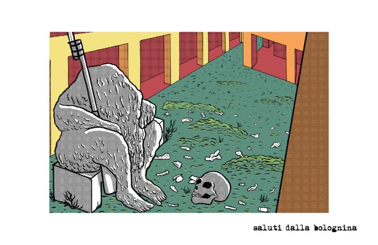 Ciao Bolognina io ti odio. Prima nido d'amore poi campo di guerra che se avesse riguardato l'umanità sarebbe stata mondiale, poi, ora adesso sei cimitero di cadaveri che mai vorrei dissotterrare. Io sto bene e tu? Illustrazione: Francesco Cornacchia