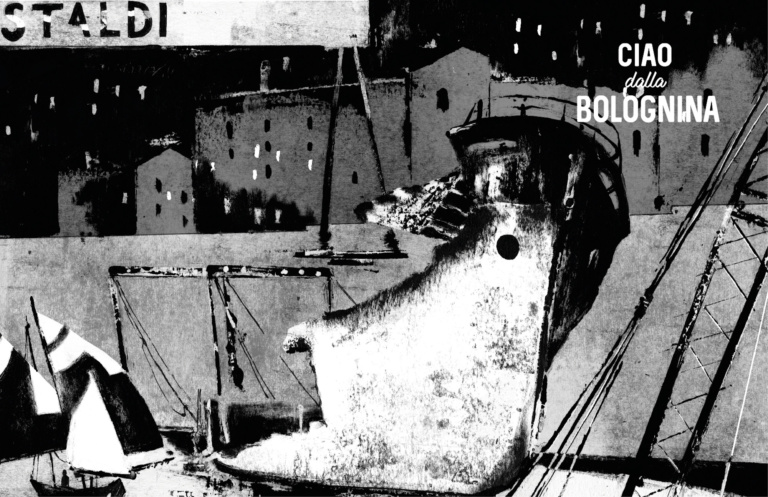 """Mi mancano le gru Astaldi del cantiere alta velocità, per la poesia che sapevano suscitare. Un bambino passeggiando con la sua mamma indica il muro/barriera di via Carracci e dice: """"Mamma mamma cosa c'è là dietro? Il mare?"""" E la mamma: """"Si, può essere..."""" Ilaria che ama la Bolognina Illustrazione: Elena Guidolin"""