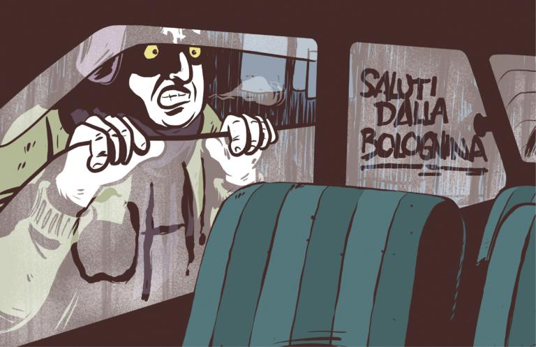 """Via Carlo Cignani. Vale ti ricordi quando hai fatto brutto a quel tipo che ti stava fottendo la panda? Io si, mi ricordo di aver pensato """"Oh, è tosta 'sta tipa..."""" Illustrazione: Mattia Moro"""